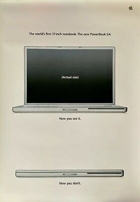 "Apple Computer Worlds First 17-inch Notebook New PowerBook G4 17"" Vintage Poster"