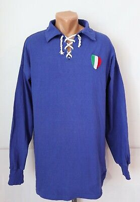 1940s Men's Shirts, Sweaters, Vests ITALY 1940S 1950S HOME SHIRT JERSEY MAGLIA TOP LONG SLEEVE TOFFS REPLICA MENS XL $54.99 AT vintagedancer.com