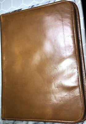 Vintage Brown Padfolio Portfolio Organizer Folder Binder Leather Full Zip