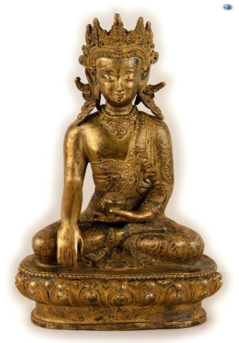 Antique 19th Century Asian Chinese Crowned Tara Buddha Gilded Bronze Statue