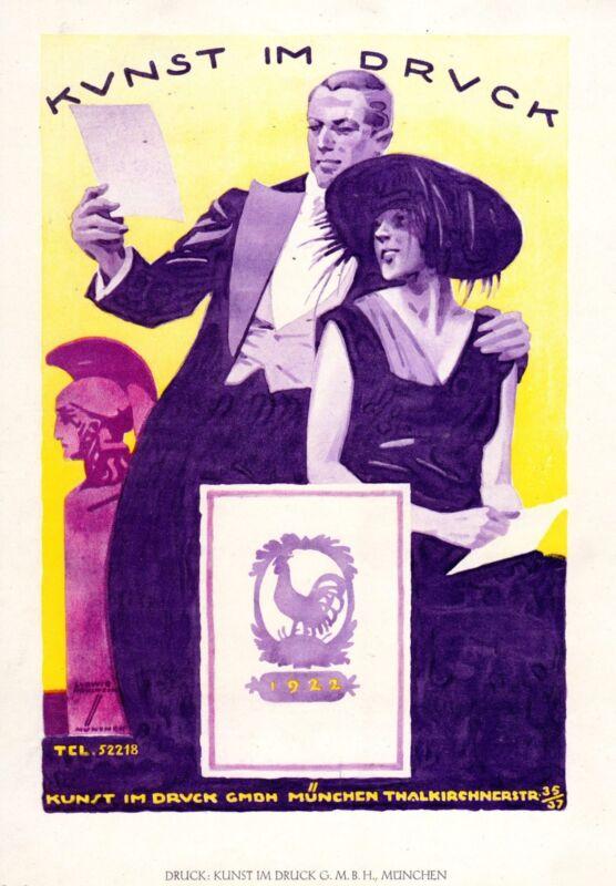 ADVERTISEMENT PRINTING KUNST IM DRUCK SIGNED HOHLWEIN 1926