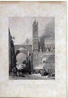 Palermo Archbishop's Palace & Cathedral Incisione Meta' Xix Secolo Leitch Smith -  - ebay.it