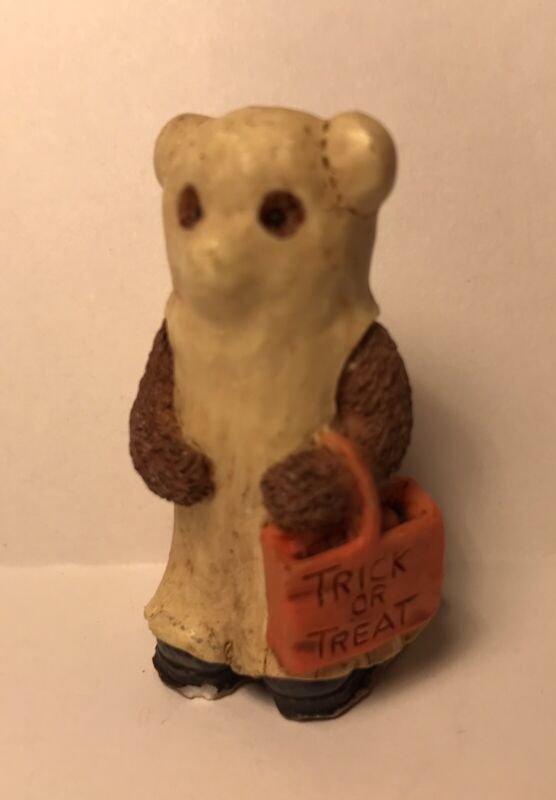 "VTG 2"" Ceramic Halloween Bear Figurine ""Trick-Or-Treat"" Ghost Costume"