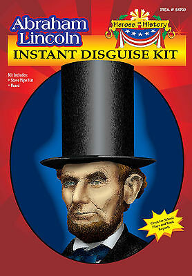Abe Lincoln Kids Costume Kit  Beard & Stove Pipe Top Hat Book Report Wax Museum (Abe Lincoln Beard)