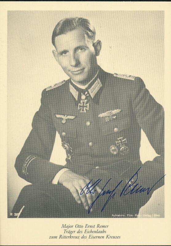 Otto Ernst Remer signed photo card. Oakleaves winner.