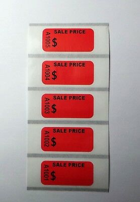 100 Self Adhesive Garage Store Sale Price Tags Labels Sticker Consecutive Number
