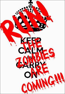 KEEP CALM AND RUN ZOMBIE - Zombie Sticker Bumper Car Sticker, Decal, Sign