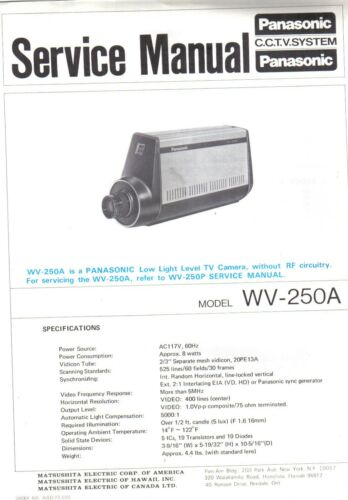 PANASONIC SERVICE MANUAL FOR WV-250A