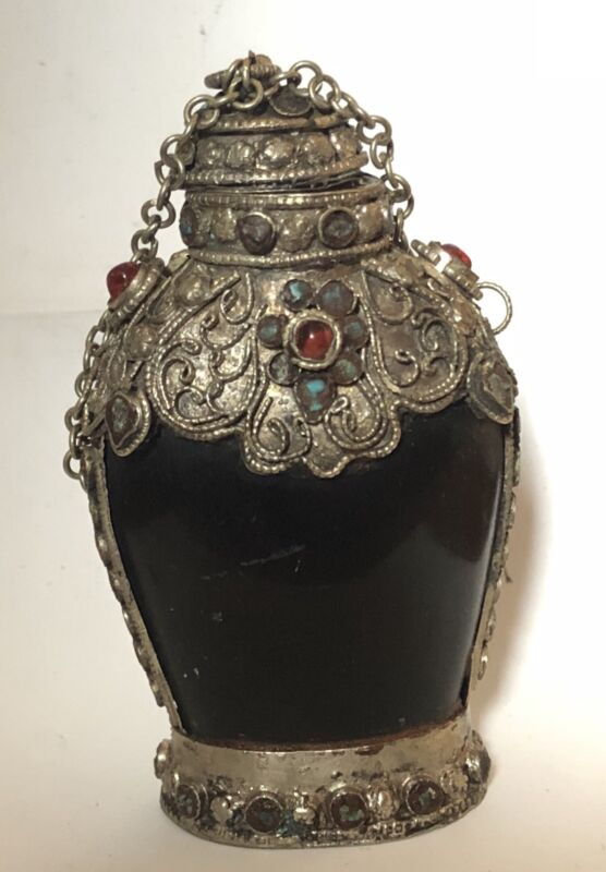 Vinatge Black And Silver Snuff Bottle
