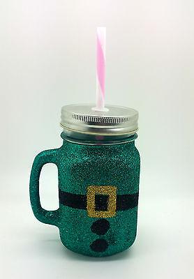 R GLASS MASON JAR PRESENT CHRISTMAS GIFT CHILDRENS  (Glitter Mason Jar)