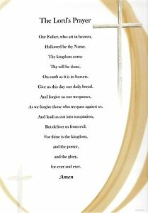 Lords Prayer Verse Inspirational Poem Plaque Print Laminated (can be framed)