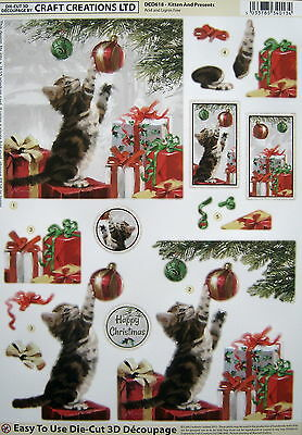 3D Christmas DIE CUT decoupage - KITTEN AND PRESENTS - DCD618