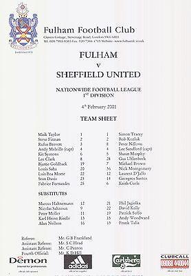 Team Sheet:  Fulham v Sheffield United 00/01