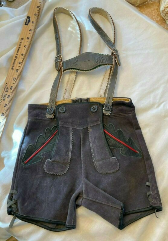 Authentic Vintage German Lederhosen Shorts Grey Suede Childs w/ Suspenders