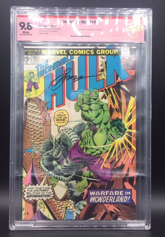 VINTAGE SIGNED INCREDIBLE HULK 195 MARVEL COMIC BOOK CBCS GRADE 9.8 GERRY CONWAY