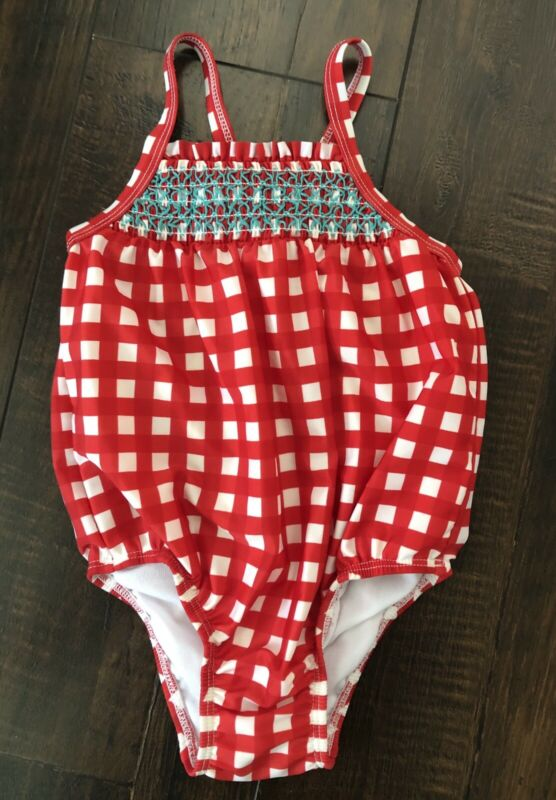 Girls Cat & Jack Size 3T Red Checkered Swimsuit Bathing Suit Pool Beach