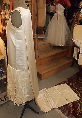 Antique 1920s Silk Satin Lace Flapper Wedding Dress & 7 Foot Train