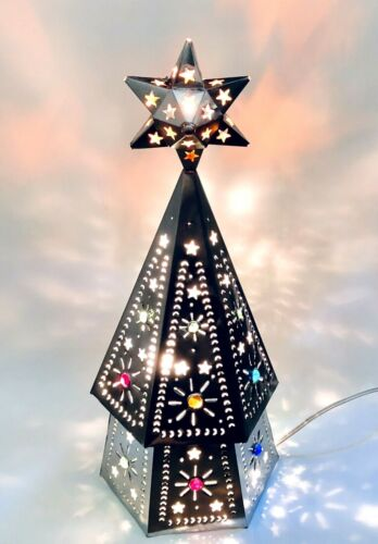 "Punched TIN CHRISTMAS TREE,  Árbol de Navidad, Table Top Lighted Tree 19""H"