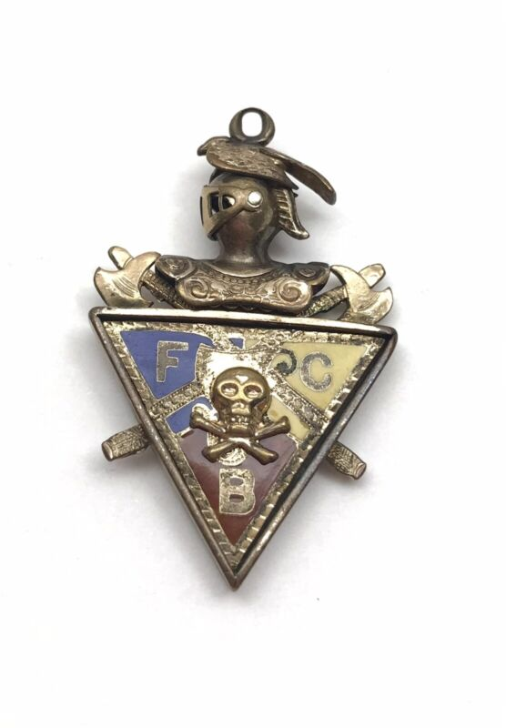 Knights of Pythias Watch Fob Pendant w/ 3D Hinged Knight, Enameled FCB