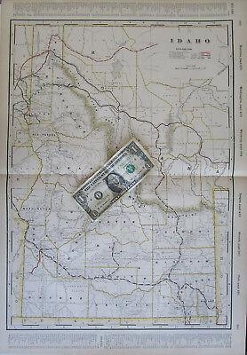 ID XL 1899 IDAHO Cram RAILROAD Map 1800s Historic Train Decor. Color Coded RRs