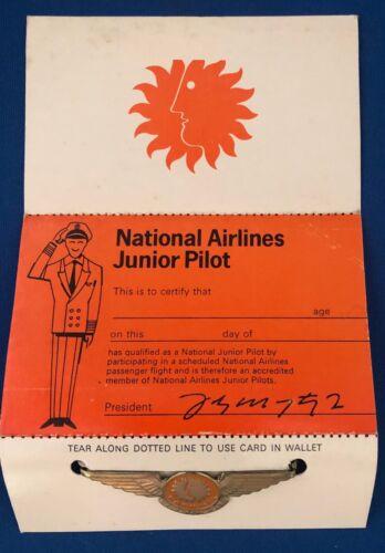 National Airlines Metal Junior Pilot Wings / Pin on original card