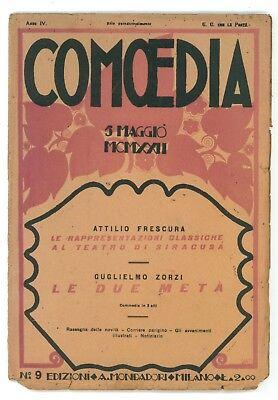 COMOEDIA NUMERO 9 1922 GUGLIELMO ZORZI LE DUE META' ATTILIO FRESCURA SIRACUSA