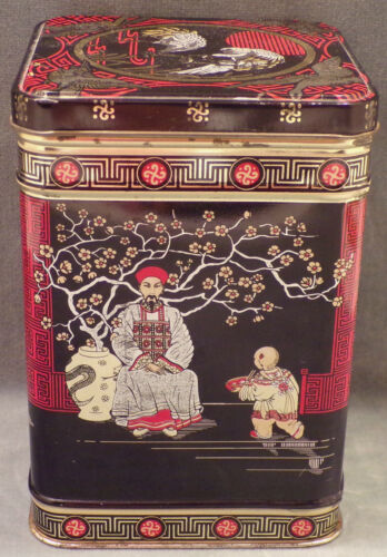Vintage Tea Tin with Hinged Lid, Oriental Design, Made in Great Britain