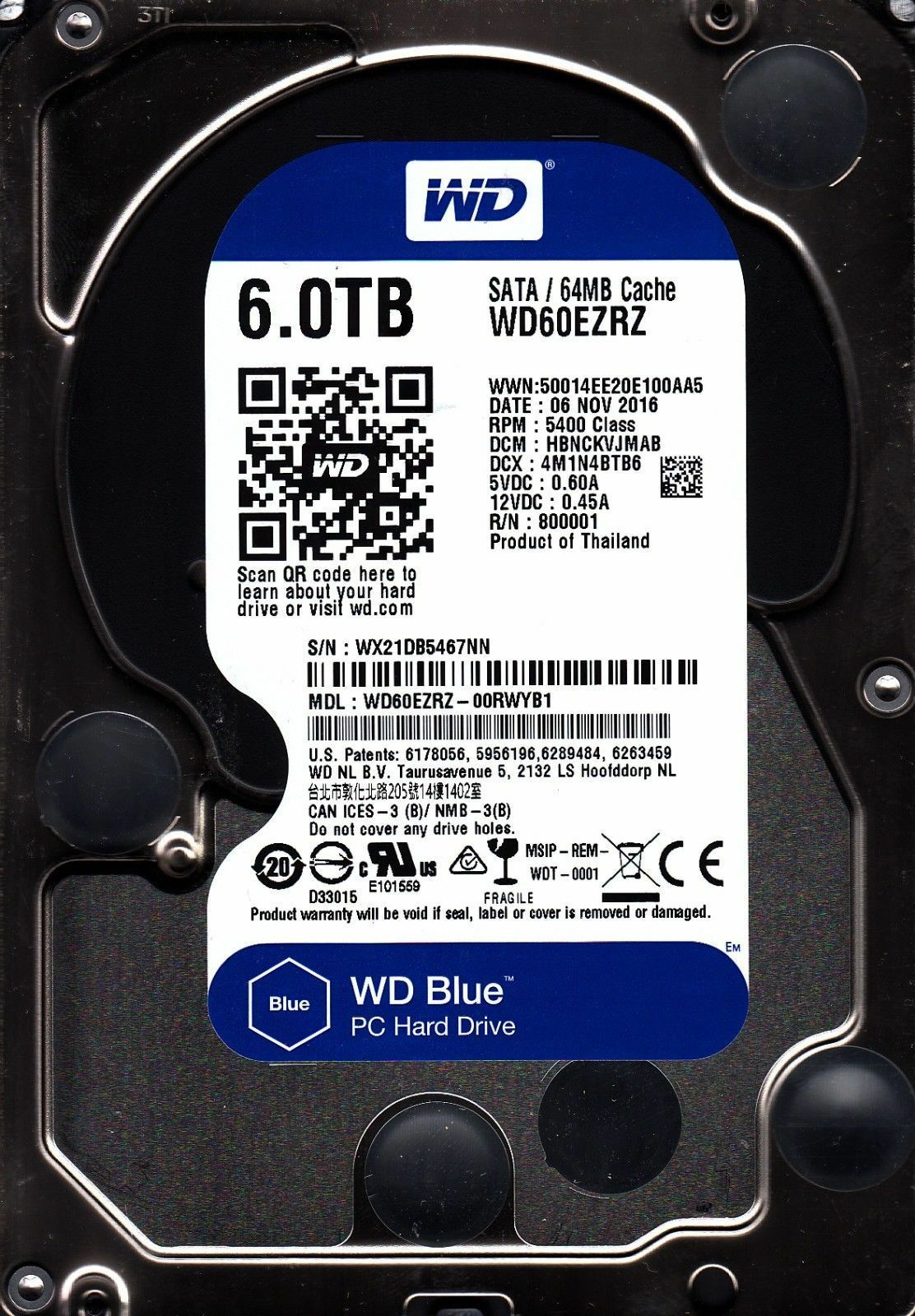 "New WD BLUE WD60EZRZ 6TB Internal 3.5"" Desktop Hard Drive"