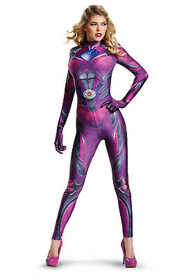 Pink Power Rangers Halloween Costume S M L Adult Woman Sexy Bodysuit Cosplay
