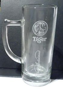 TIGER-BEER-Vintage-San-Francisco-White-Handle-World-Acclaimed-GLASS-SINGAPORE
