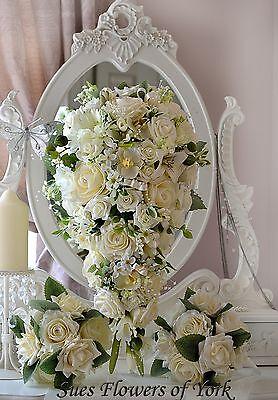Wedding Flowers Traditional Ivory Teardrop Set