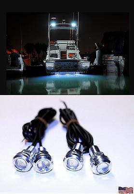 4x White LED Boat Light Waterproof Pod Bright LED Bolt Dilbar Musashi Dragonfly