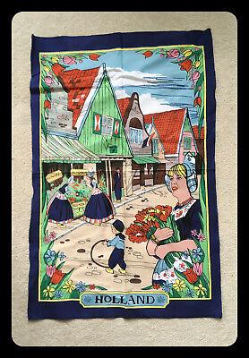Holland Vintage Tea Towel Girls Flowers Street Scene