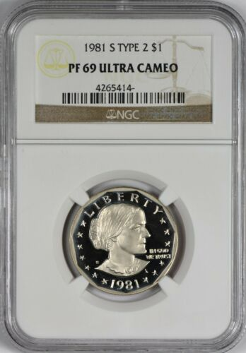 1981 S Type 2 Susan B. Anthony Dollar NGC PR69 PF69 Ultra Cameo DCAM - Frosty