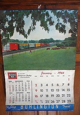 "BURLINGTON ROUTE RAILROAD - 1966 LARGE WALL CALENDAR - 18"" x 26"""