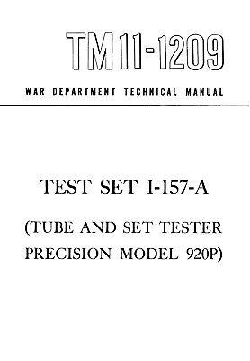 Tube Tester Manual Reprint Precision 920p I-157-a
