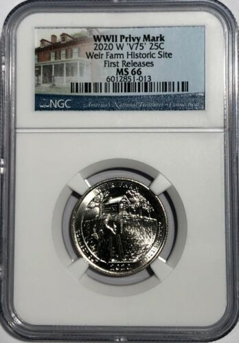 2020 W WEIR FARMS HISTORIC NGC MS66 FIRST RELEASES FR V75 WWII PRIVY QUARTER 25c