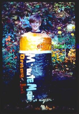 1971 Orig Slide~Halloween Costume- Minute Maid Orange Juice Can- 1970s vtg photo - Orange Juice Halloween Costume
