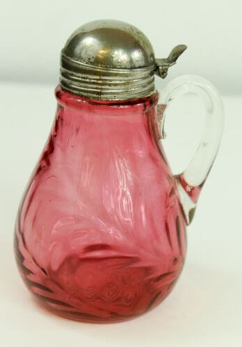 Victorian Northwood Cranberry Inverted Fern Syrup Pitcher