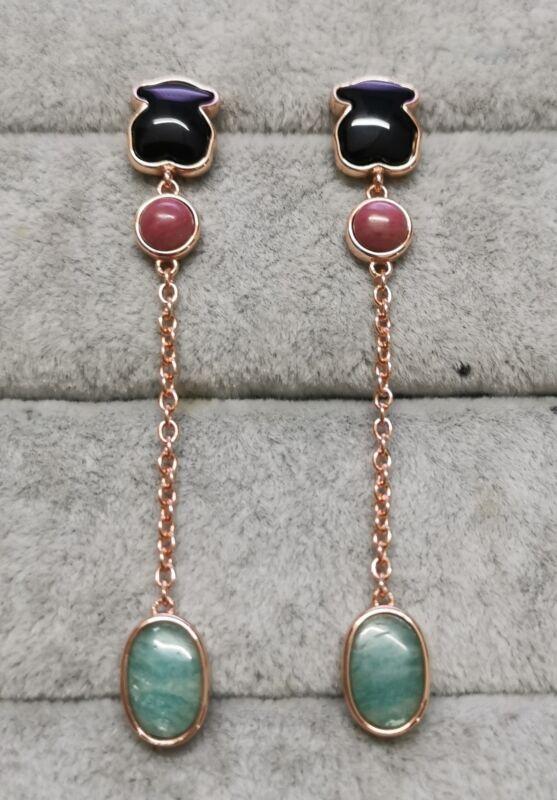 TOUS 614933510 Rose Vermeil Silver Motif Earrings, Onyx, Rhodonite, Amazonite