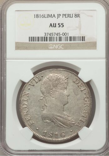 PERU  SPANISH COLONIAL FERDINAND VII  1816-JP  8 REALES COIN CERTIFIED NGC AU55