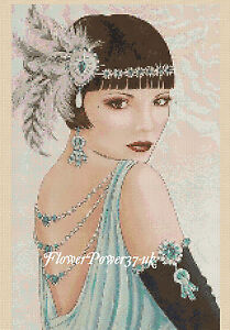 Cross stitch chart  Art Deco Lady 96 Flowerpower37-uk.-.free uk P&p...