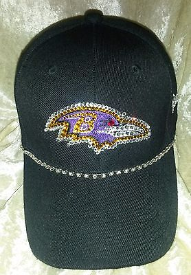 Baltimore Ravens Womens Hats - Baltimore Ravens Womens Ladies Rhinestone Bling NFL Cap Hat ~NEW~