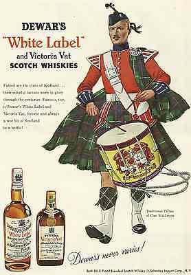 DEWAR'S WHITE LABEL AND VICTORIA VAT SCOTCH WHISKIES 1955 MAGAZINE AD  INV#185