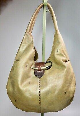 "Henry Beguelin Bronze Metallic Leather Hobo Shoulder Handbag 14"" Linen Lined"