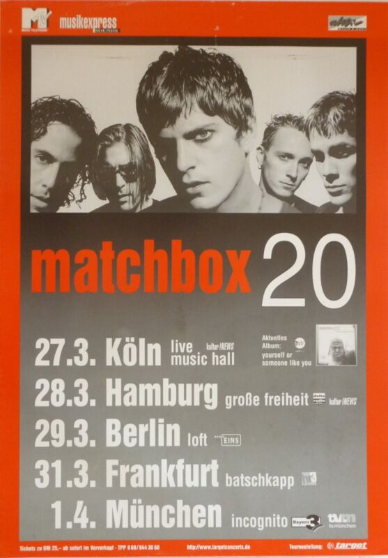 "MATCHBOX 20 ""YOURSELF OR SOMEONE LIKE YOU 1996 TOUR"" GERMAN CONCERT POSTER"