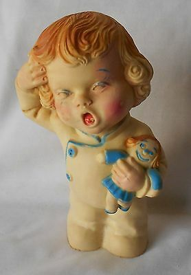 """Vintage Squeaky Rubber Girl Doll HOLDING DOLL 6"""" Rare"""