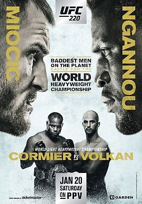 UFC 220 Fight Poster (24x36) - Miocic vs Ngannou, Cormier vs Volkan for sale  Cincinnati