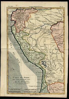 South America Peru Andes 1780 Bonne map lovely hand color