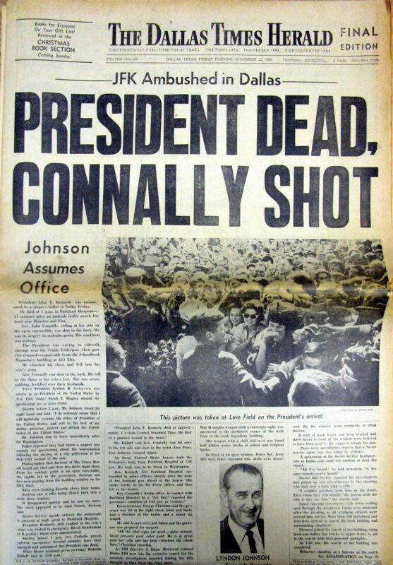 Original Nov 22, 1963 Dallas newspaper ASSASSINATION of PRESIDENT JOHN F KENNEDY